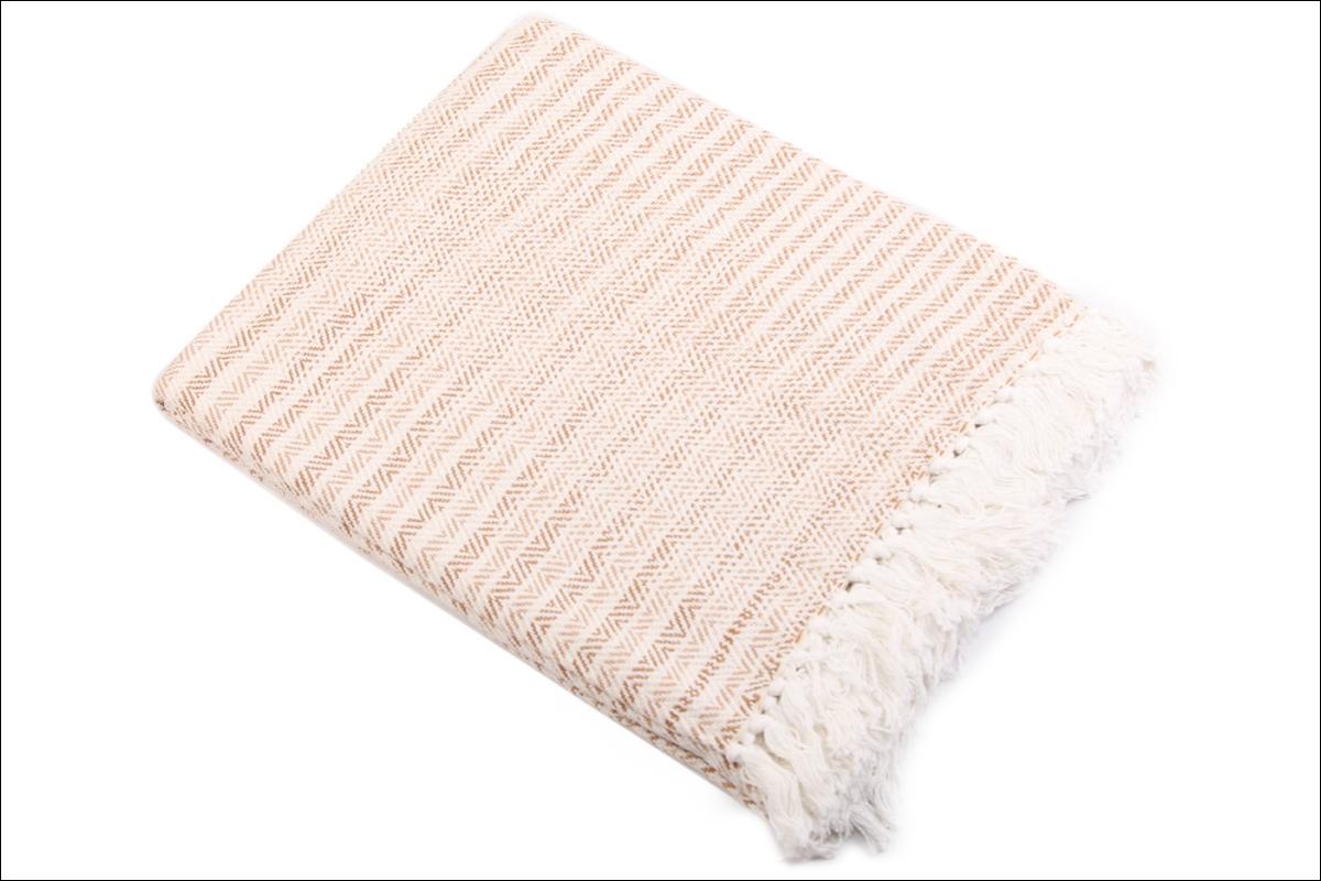 Купить Пледы и покрывала Ганг, Плед Cyan Цвет: Бело-Бежевый (130х170 см), Индия, Хлопковая рогожка