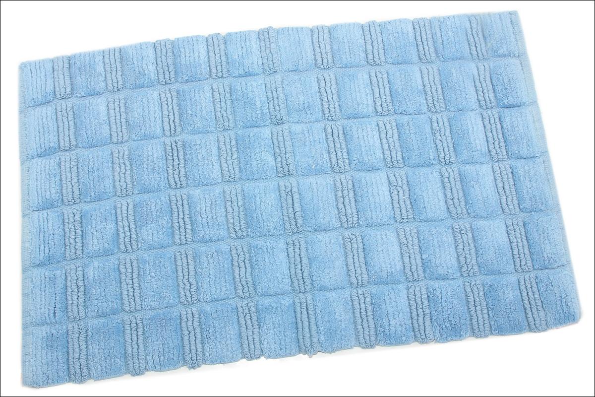 Купить Коврики для ванной и туалета Ганг, Коврик для ванной Cenric Цвет: Голубой (50х80 см), Индия, Махра