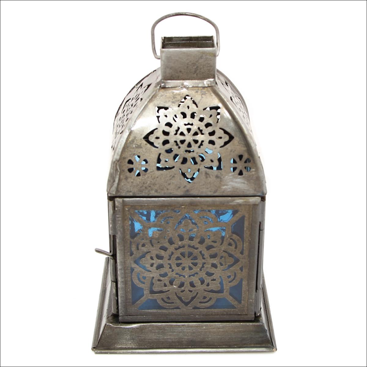 Декоративные свечи Ганг Подсвечник Фонарь Цвет: Синий (10х10х16 см) подсвечник фонарь белый 16х33 см