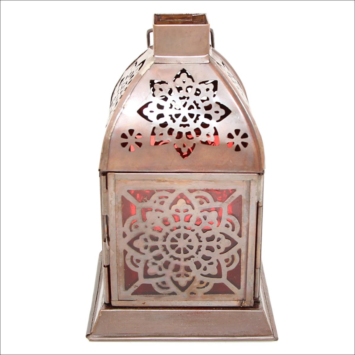 Декоративные свечи Ганг Подсвечник Фонарь Цвет: Красный (10х10х21 см) подсвечник фонарь белый 16х33 см