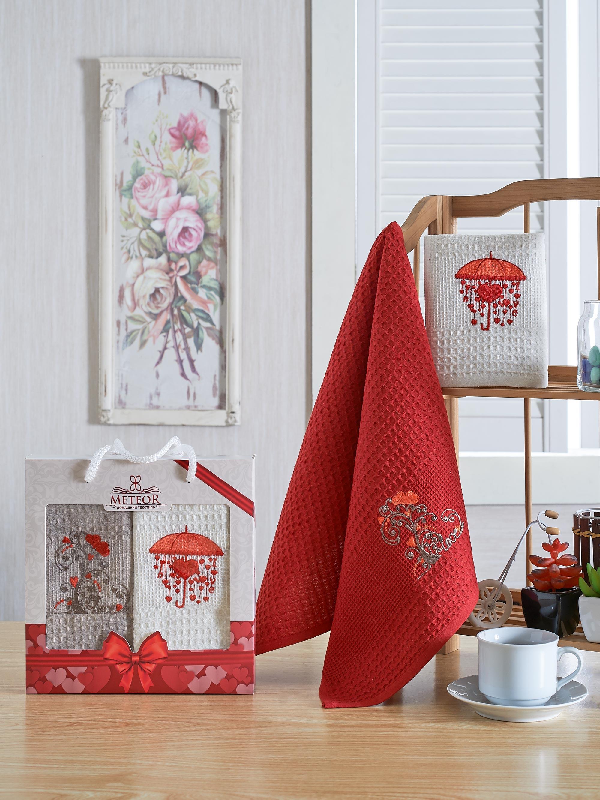 Полотенца Meteor Кухонное полотенце Сердца (40х60 см - 2 шт) bon appetit кухонное полотенце cake цвет голубой 40х60 см 2 шт