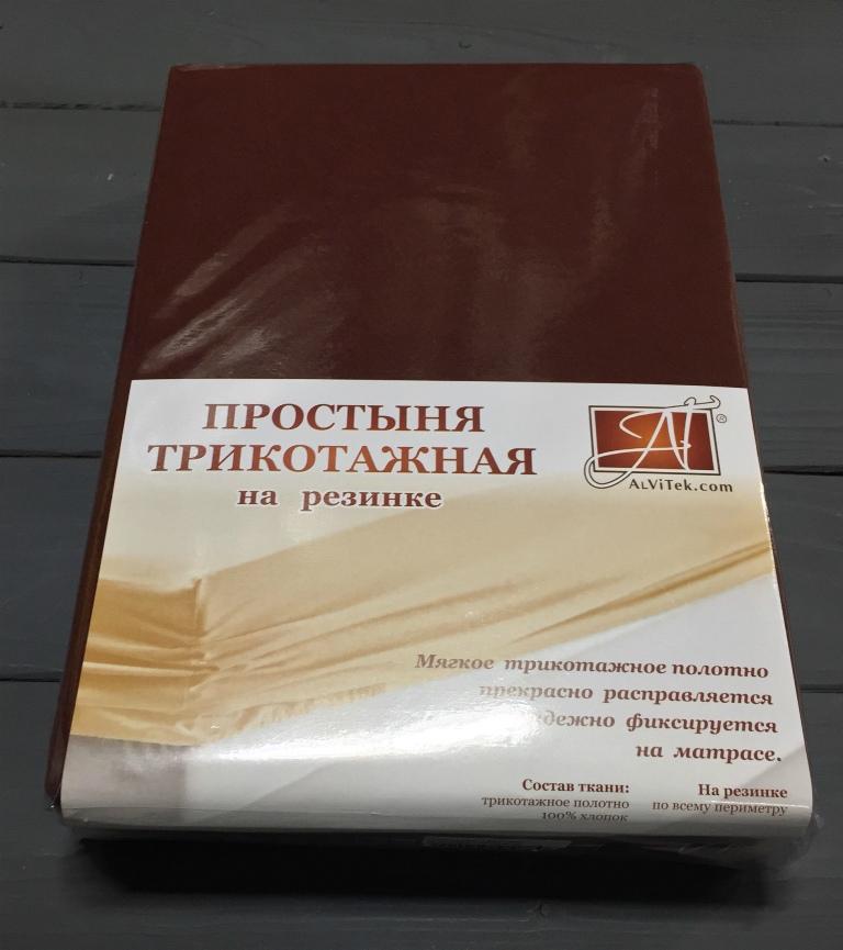Купить Простыни AlViTek, Простыня на резинке Natural Цвет: Шоколадный (160х200), Россия, Хлопковый трикотаж