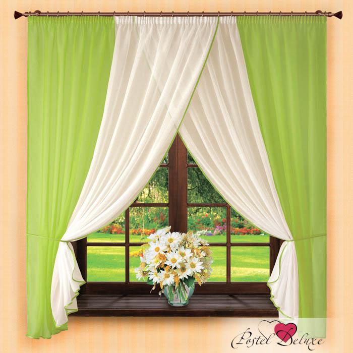 Купить Шторы РеалТекс, Скрещенные шторы Edelweiss Цвет: Салатовый, Россия, Зеленый, Вуаль
