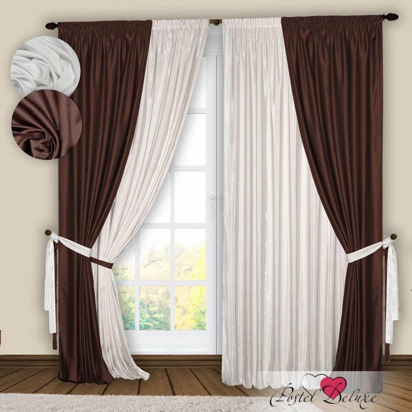 Шторы РеалТекс Классические шторы Gulistan Цвет: Белый-Венге шторы реалтекс классические шторы alexandria цвет венге молочный венге
