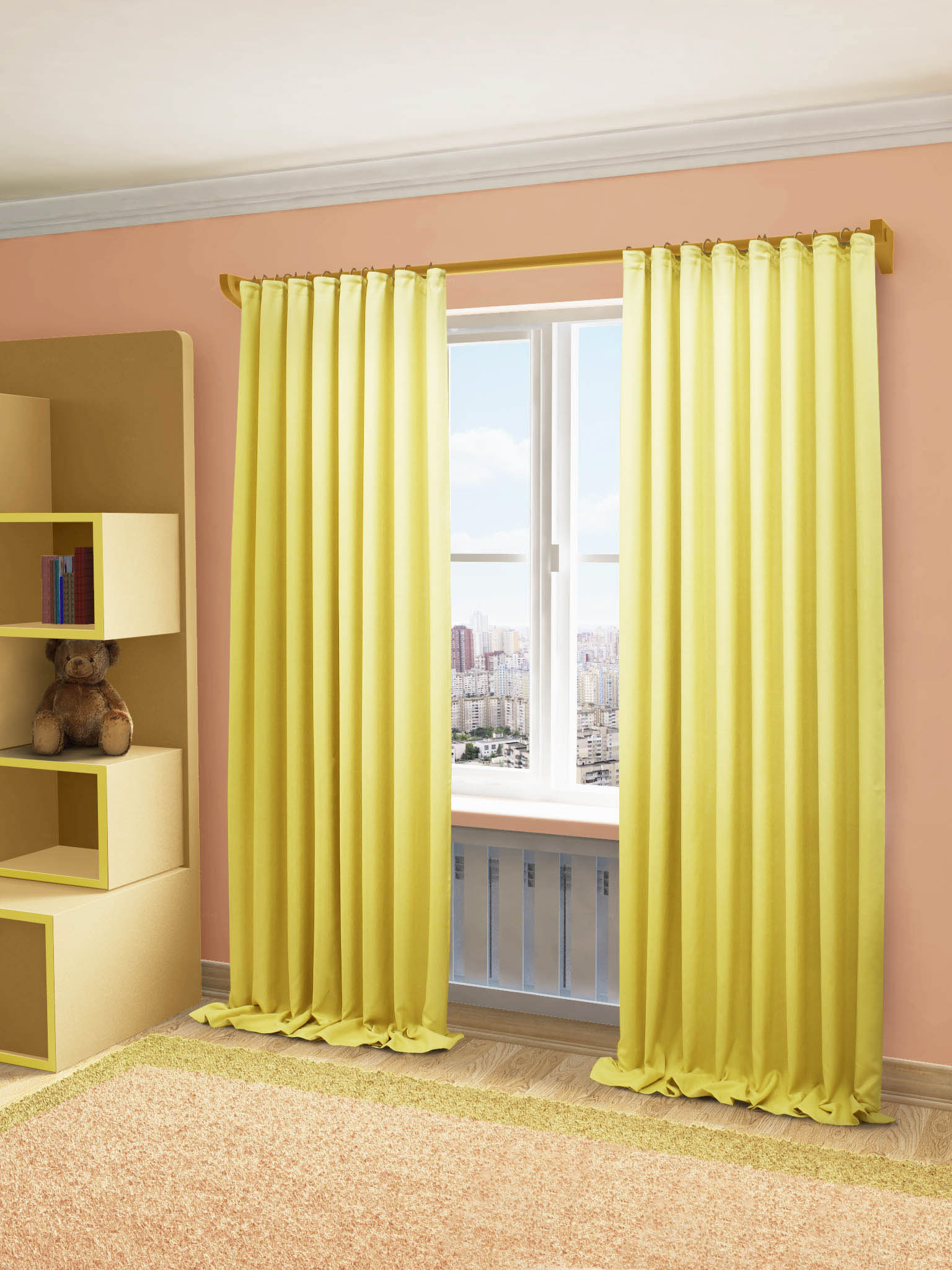Купить Шторы Sanpa, Классические шторы Love Цвет: Желтый, Россия, Портьерная ткань