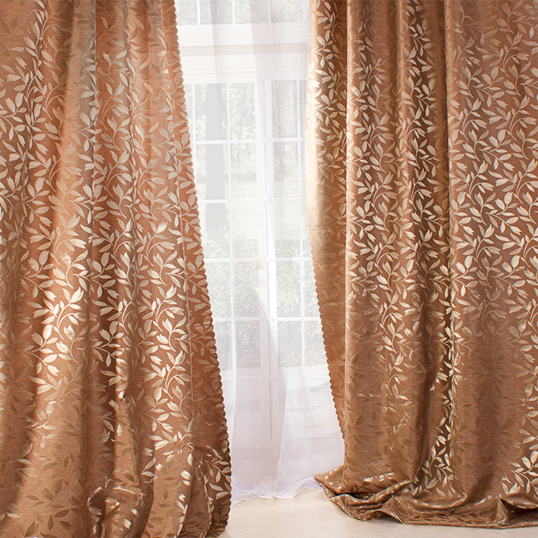 Купить Шторы Eleganta, Комплект штор Flora Цвет: Шелковый персик, Китай, Жаккард