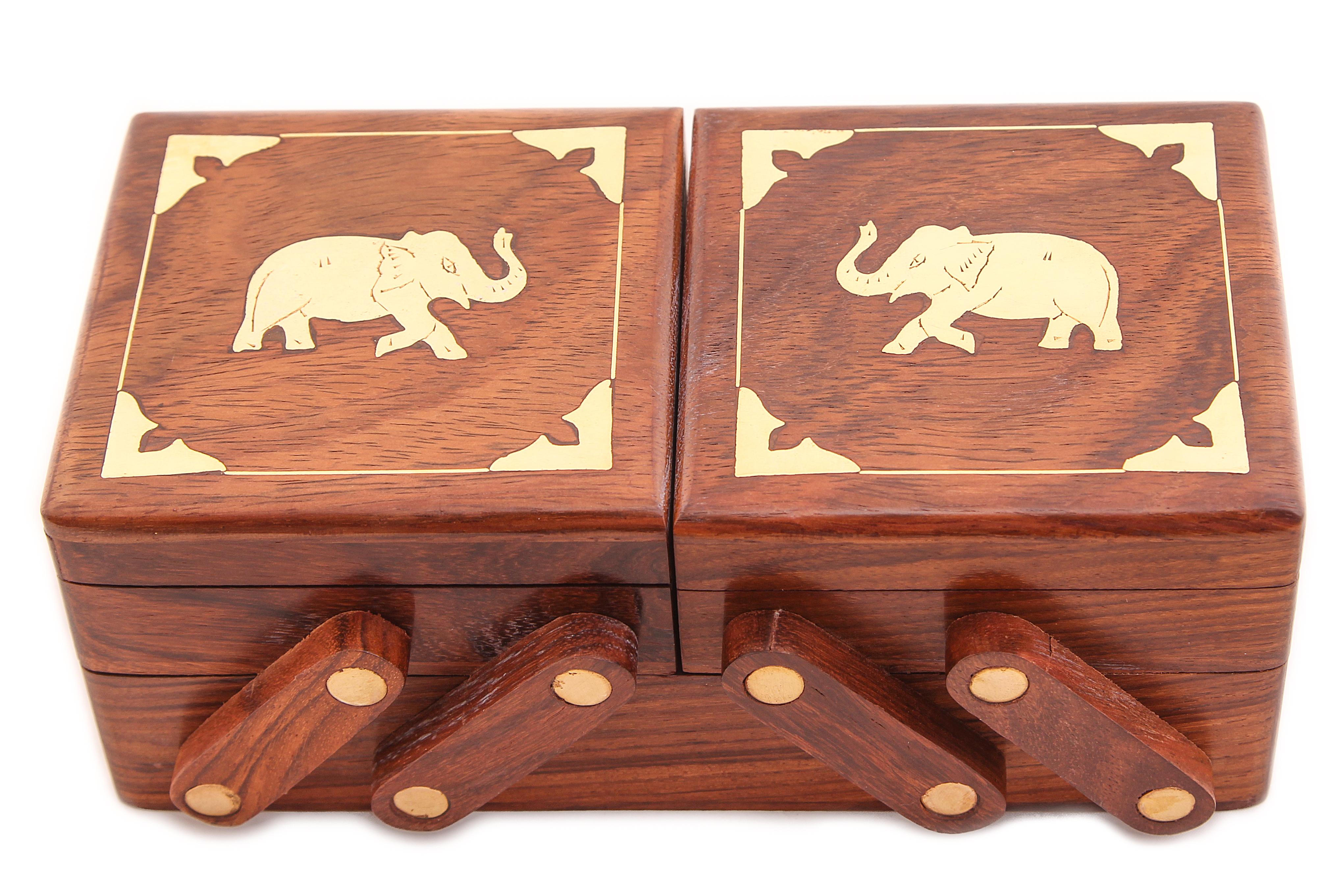 Купить Шкатулки Ганг, Шкатулка Слоны (8х10х20 см), Индия, Коричневый, Дерево, Латунь