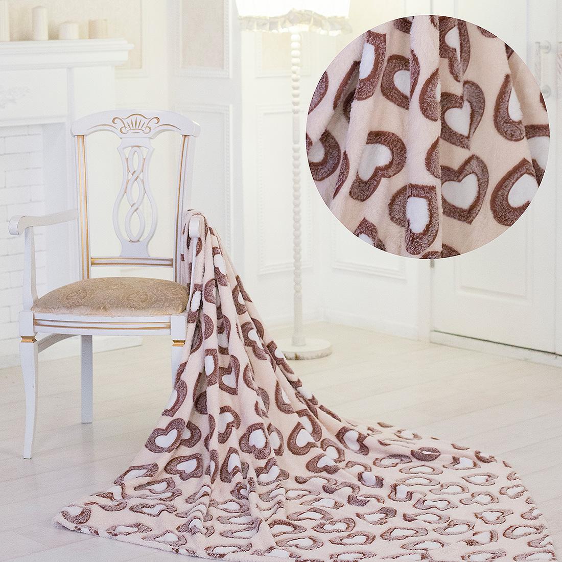 Купить Пледы и покрывала Eleganta, Плед Коричневые Сердца (180х200), Китай, Бамбуковый флис