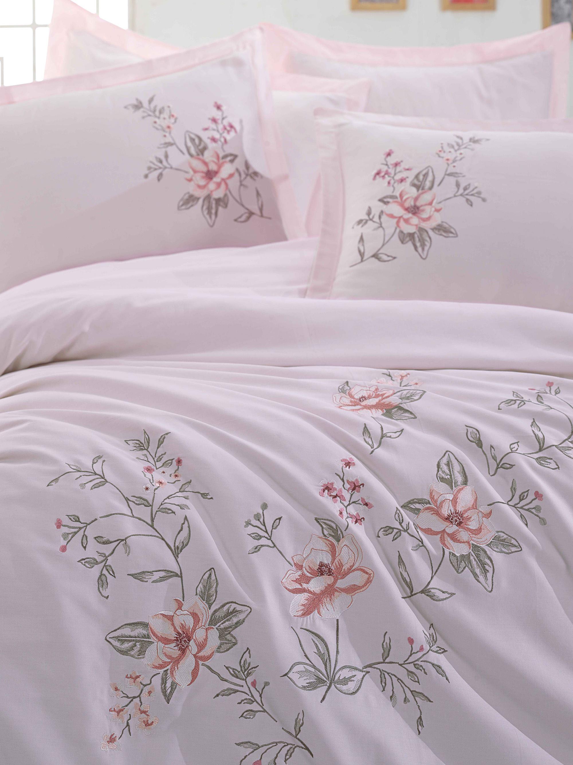 Купить Комплекты постельного белья Dantela Vita, Постельное белье Acelya Цвет: Пудра (2 сп. евро), Турция, Розовый, Хлопковый сатин