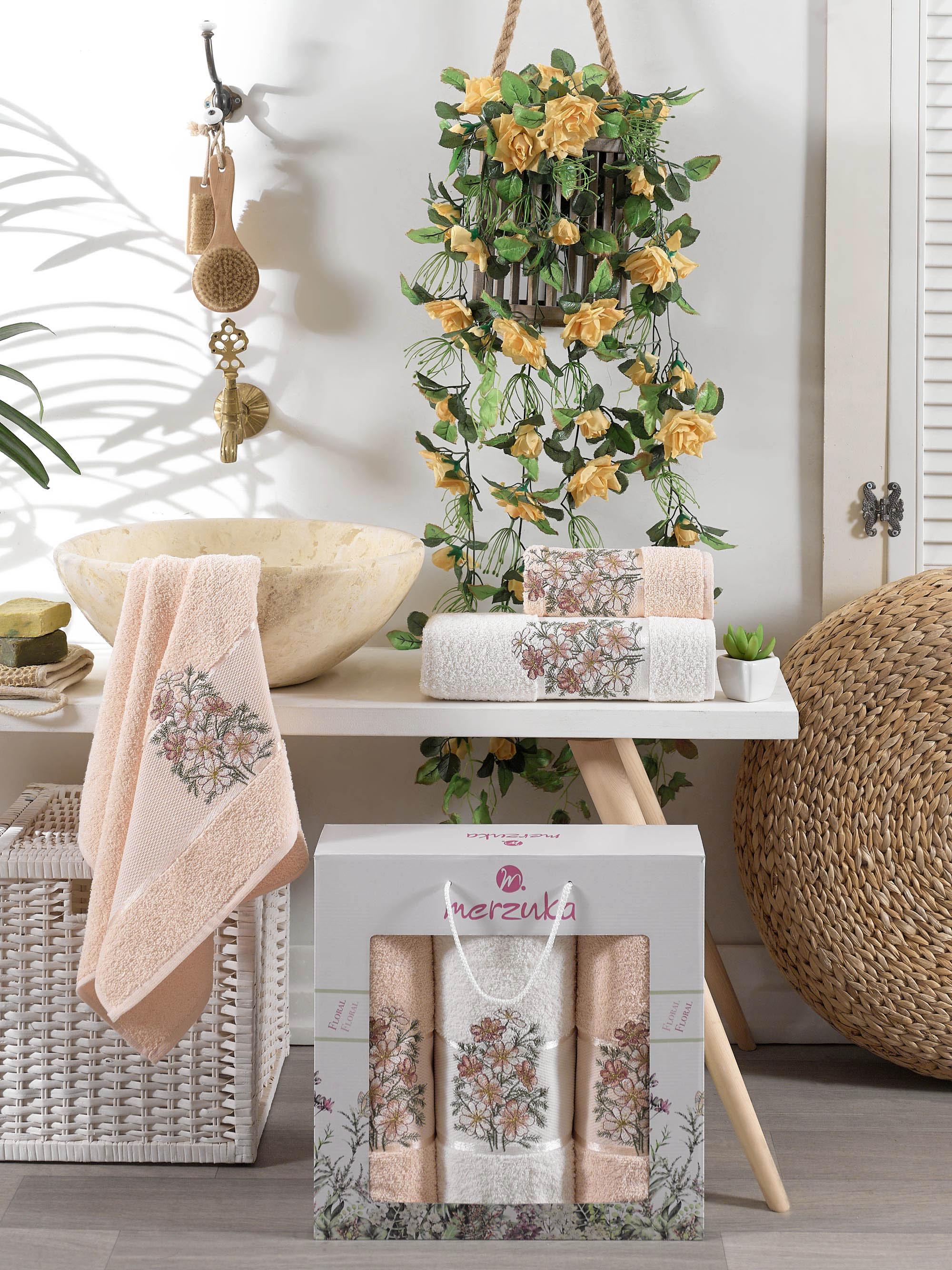 Купить Полотенца Oran Merzuka, Полотенце Floral Цвет: Пудра (50х80 см - 2 шт, 70х130 см), Турция, Махра