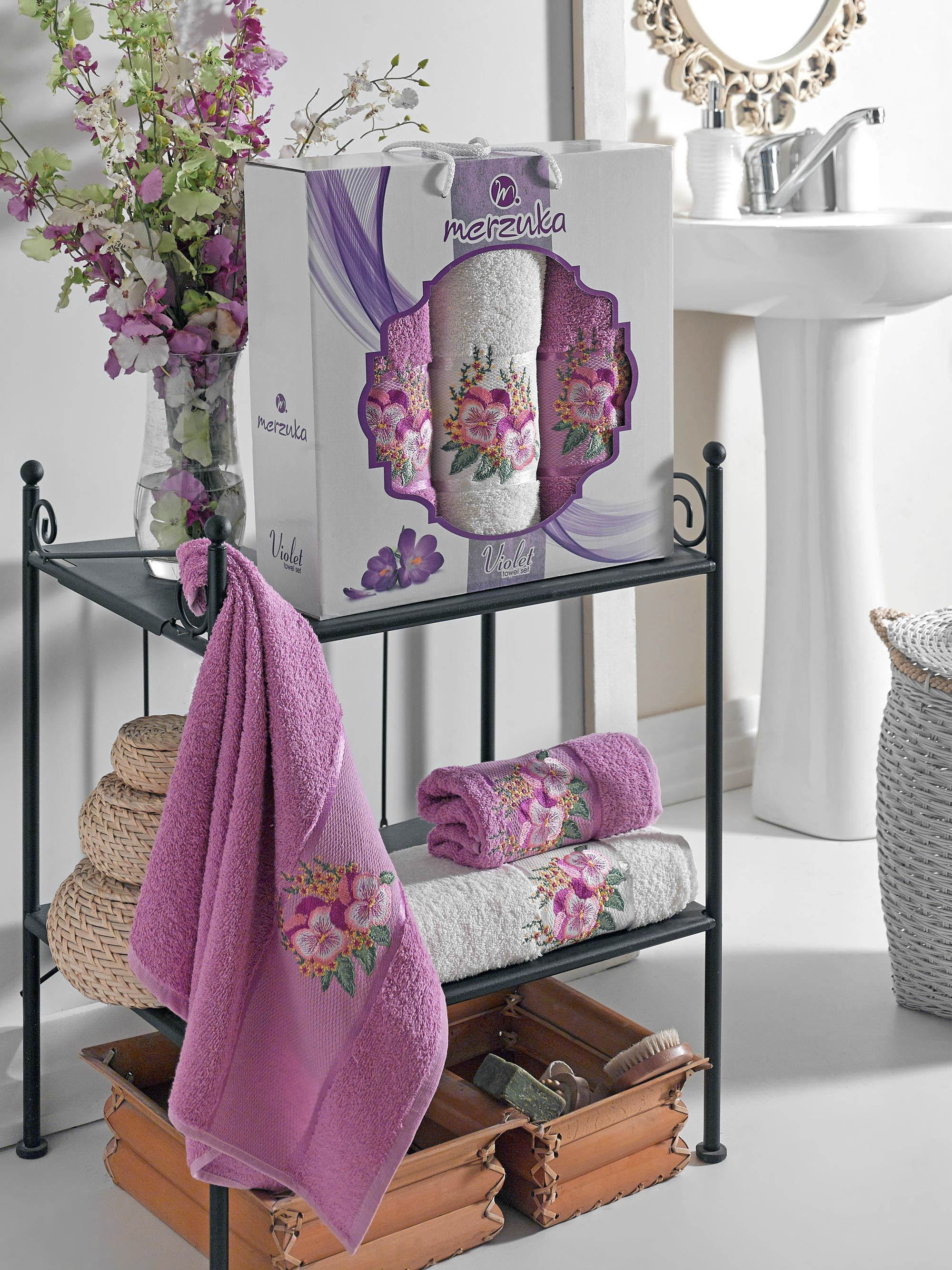 Полотенца Oran Merzuka Полотенце Violet Цвет: Светло-Лиловый (50х80 см - 2 шт,70х130 см) полотенца oran merzuka полотенце sakura цвет светло лиловый набор