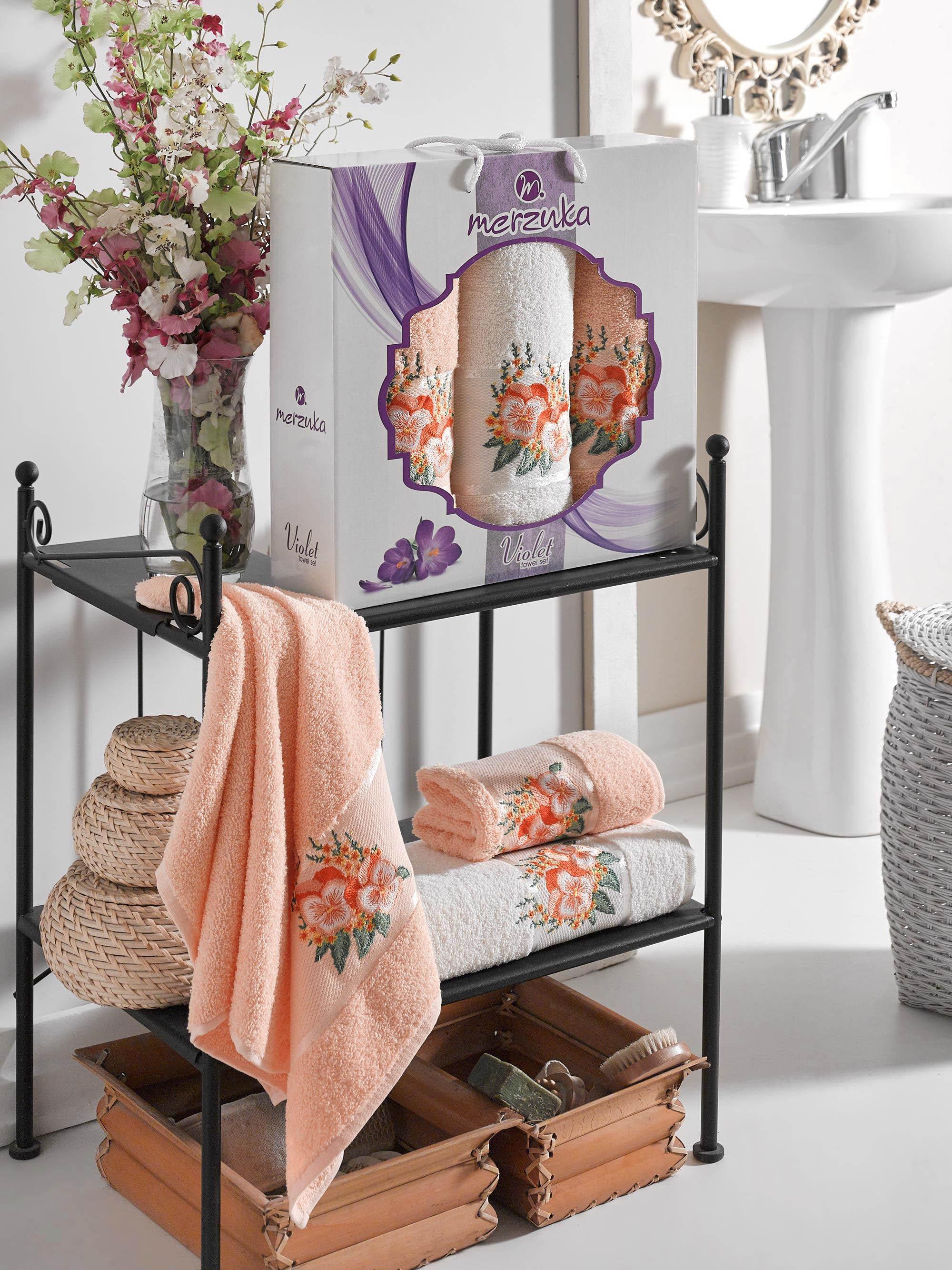Полотенца Oran Merzuka Полотенце Violet Цвет: Оранжевый (50х80 см - 2 шт,70х130 см) оранжевый prime м 50х90 70х130 в коробке набор полотенец фиеста