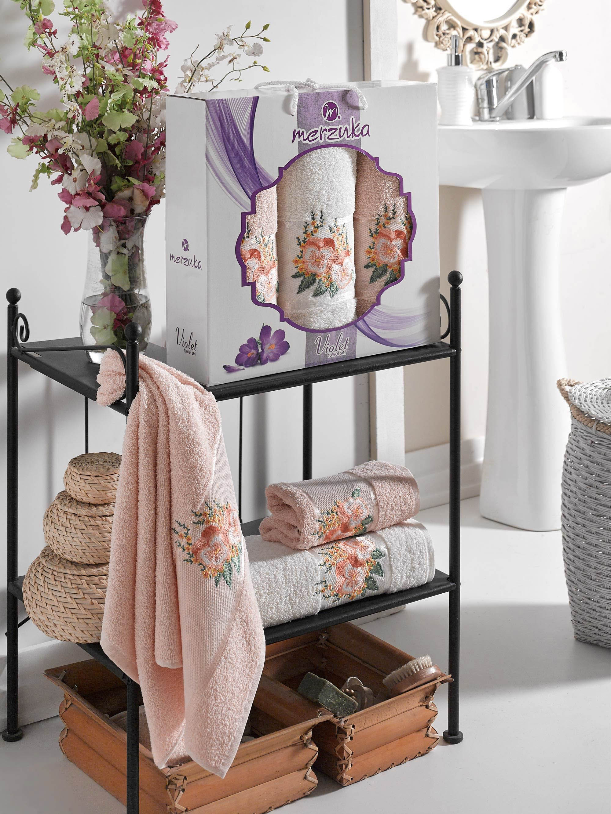 Купить Полотенца Oran Merzuka, Полотенце Violet Цвет: Пудра (50х80 см - 2 шт, 70х130 см), Турция, Персиковый, Махра