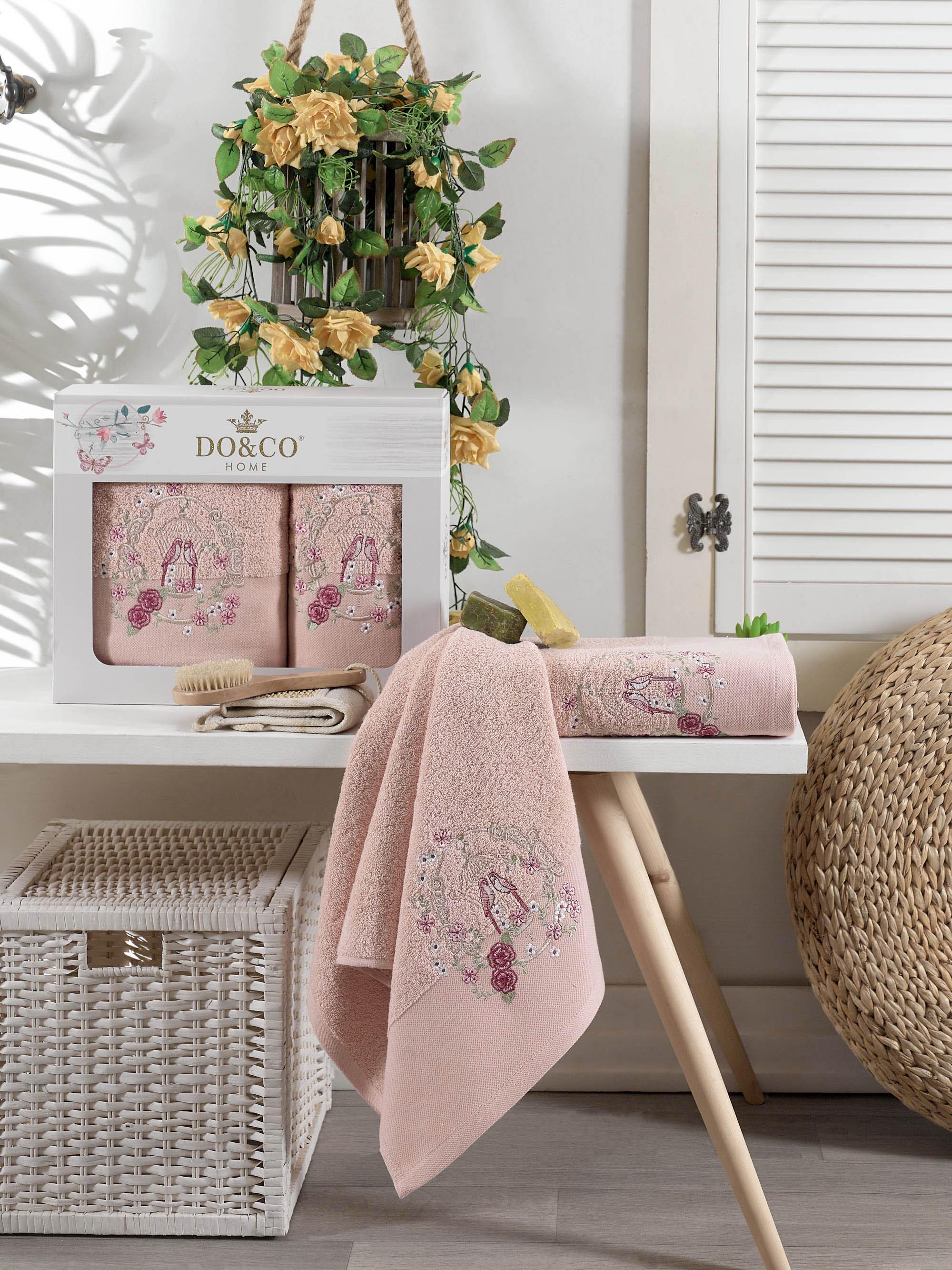 Купить Полотенца DO'n'CO, Полотенце Dalia Цвет: Пудра (50х90 см, 70х140 см), Турция, Махра