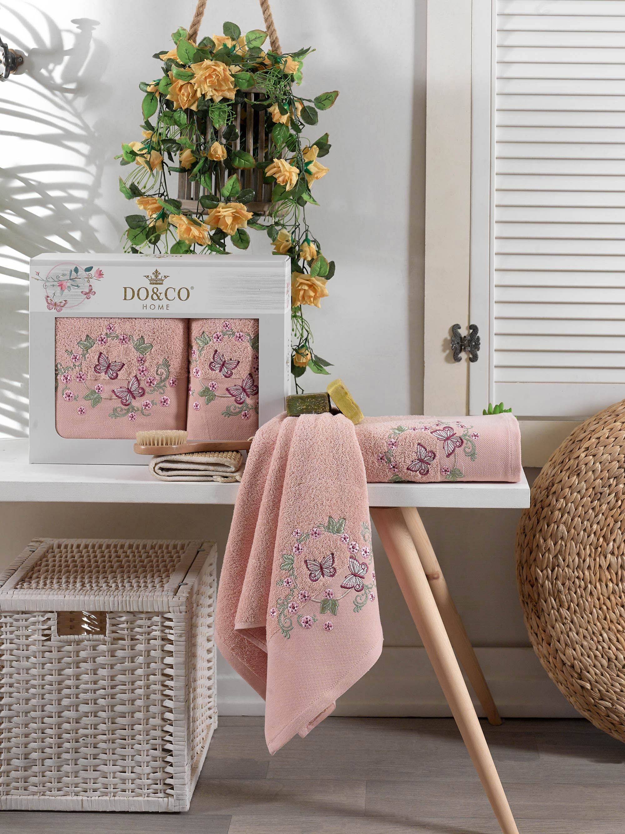 Купить Полотенца DO'n'CO, Полотенце Farfalla Цвет: Пудра (50х90 см, 70х140 см), Турция, Махра