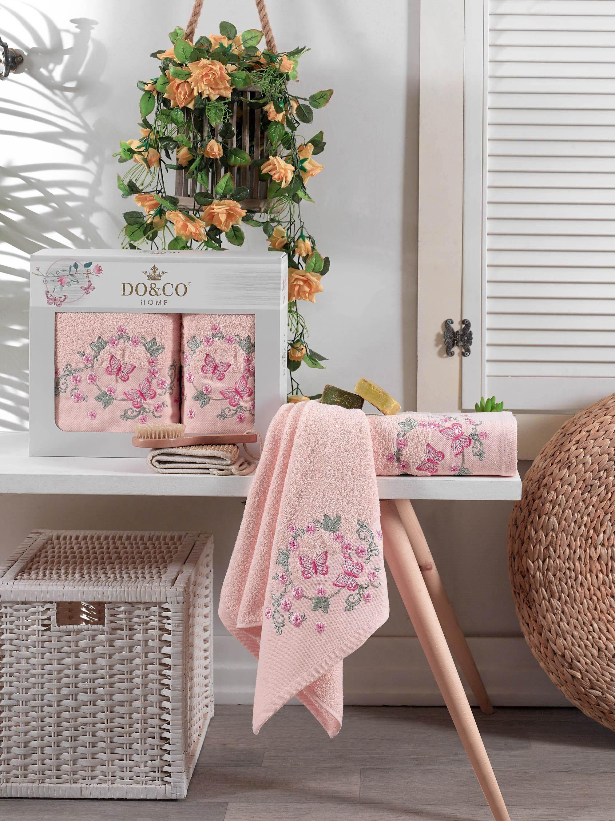 Купить Полотенца DO'n'CO, Полотенце Farfalla Цвет: Персиковый (50х90 см, 70х140 см), Турция, Махра
