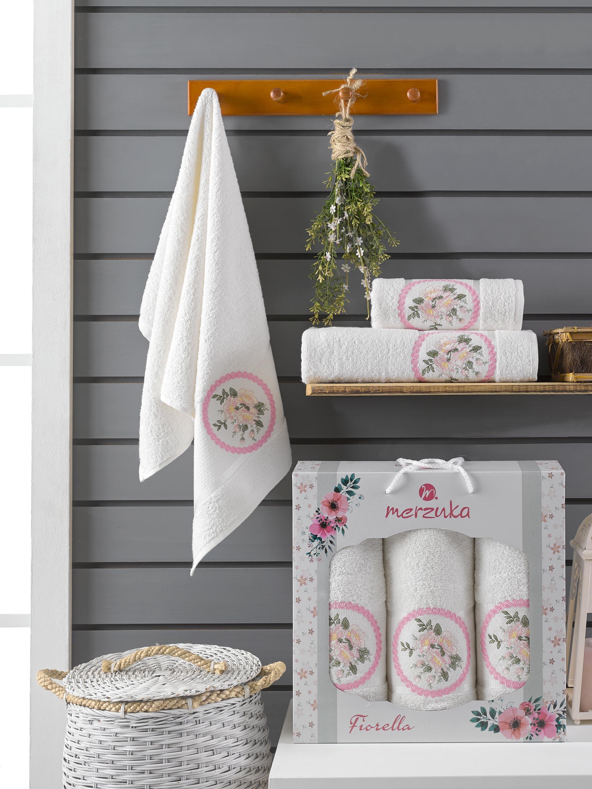 Купить Полотенца Oran Merzuka, Полотенце Florella Цвет: Кремовый (50х90 см - 2 шт, 70х140 см), Турция, Махра