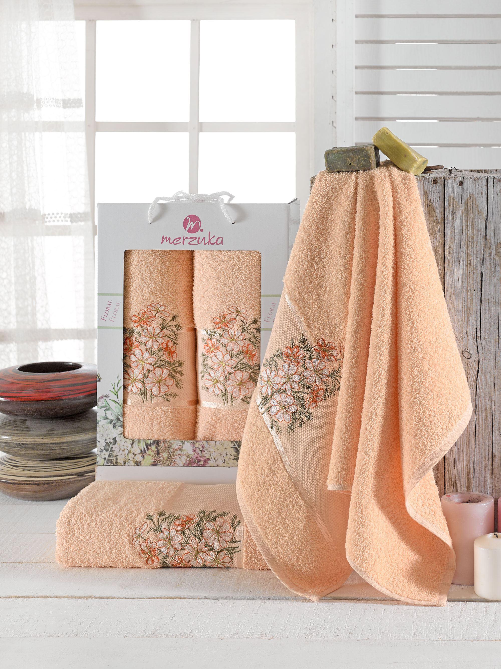 Полотенца Oran Merzuka Полотенце Floral Цвет: Оранжевый (50х80 см,70х130 см) оранжевый prime м 50х90 70х130 в коробке набор полотенец фиеста