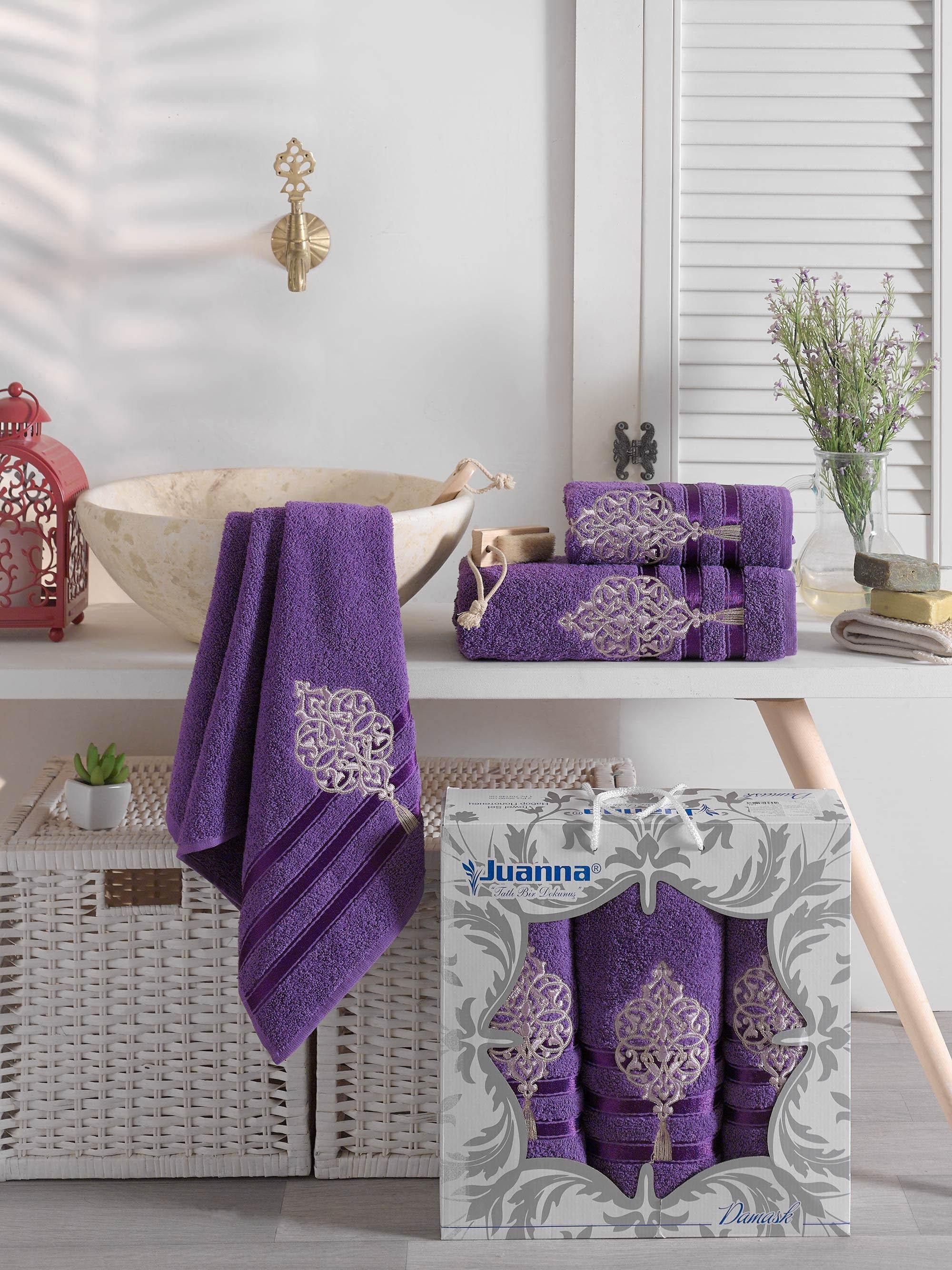 Купить Полотенца Juanna, Полотенце Damask Цвет: Баклажан (50х90 см - 2 шт, 70х140 см), Турция, Махра