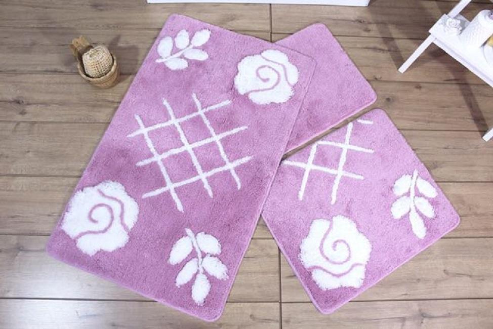 Коврики для ванной  туалета DO'n'CO    Pastel Цвет: Лиловый (60х100 см,50х60 )