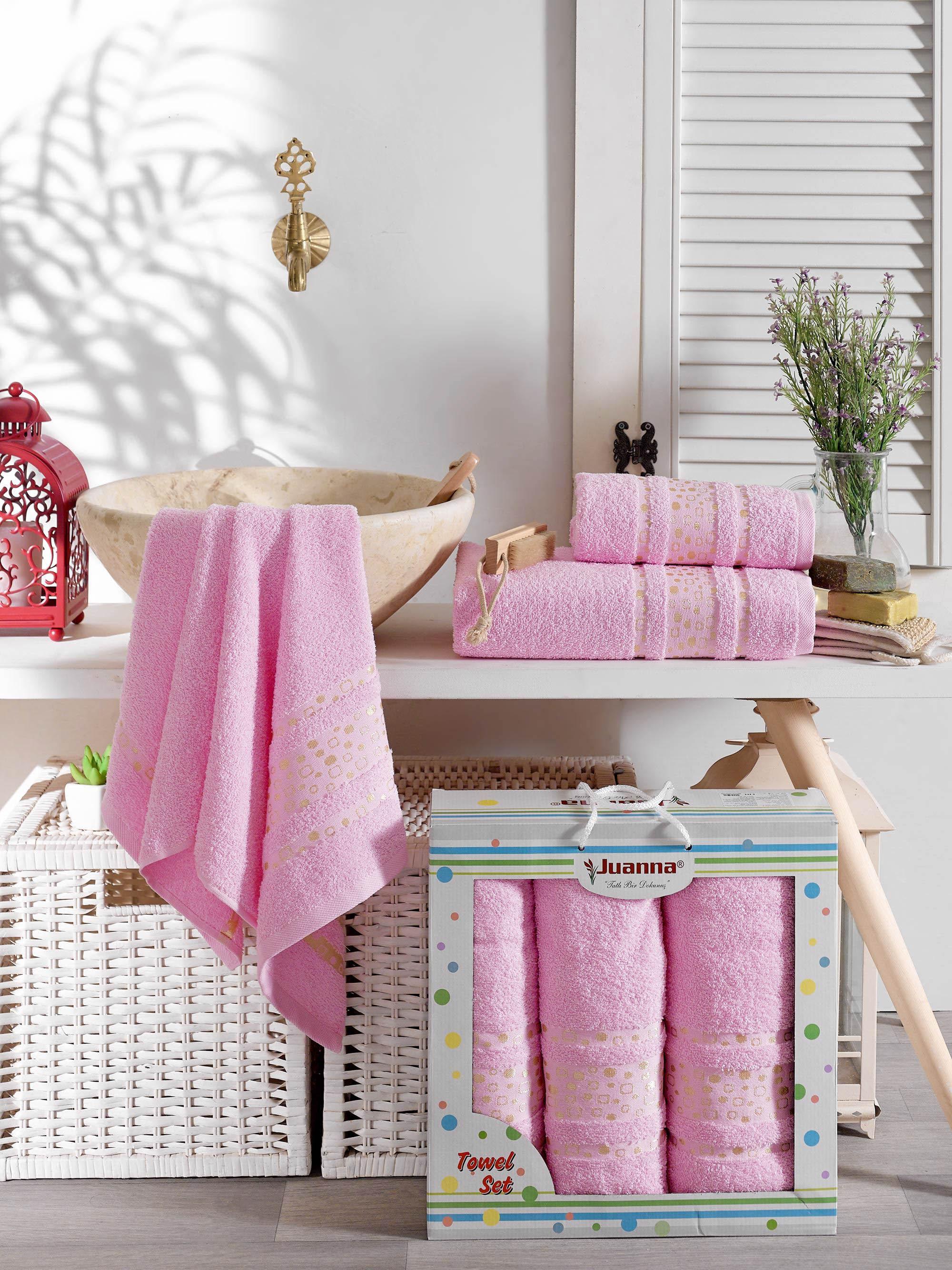 Полотенца Juanna Полотенце Puanli Цвет: Розовый (50х90 см - 2 шт,70х140 см)
