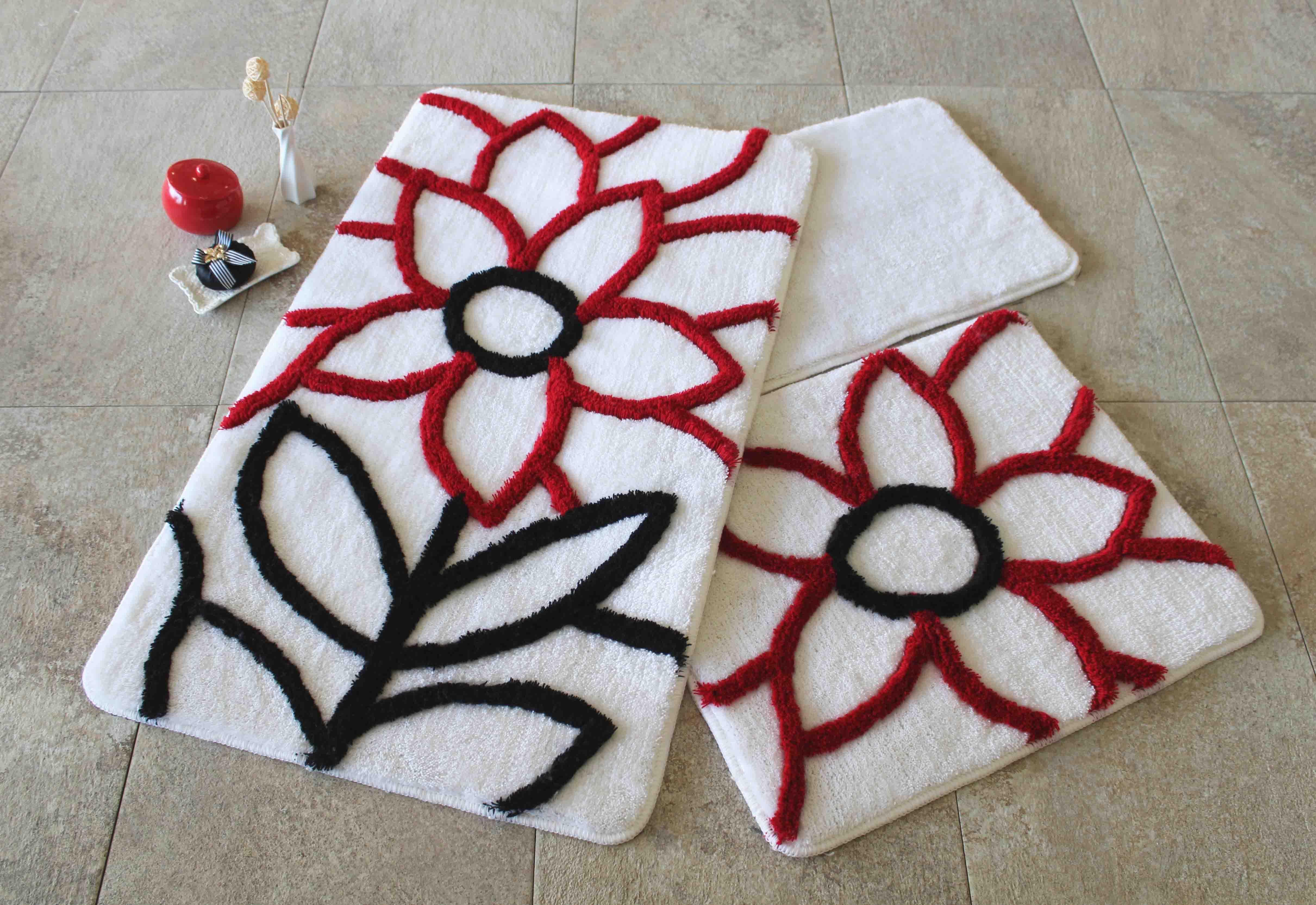Коврики для ванной и туалета DO'n'CO Коврик для ванной Naturel Цвет: Красный (60х100 см,50х60 см) коврик для ванной axentia круглый цвет красный диаметр 50 см