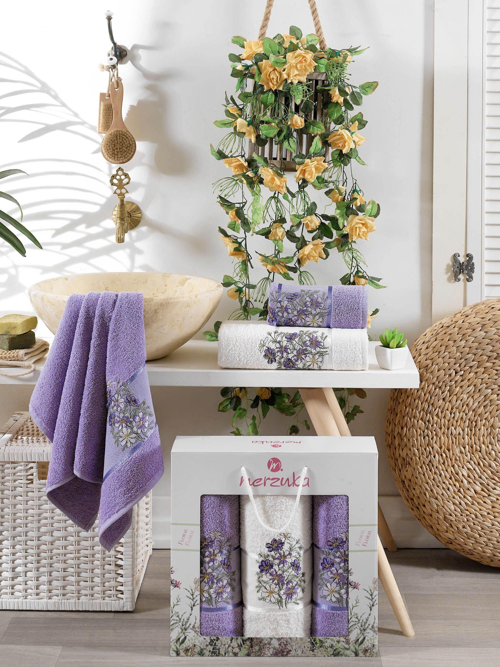 Полотенца Oran Merzuka Полотенце Floral Цвет: Лиловый (50х80 см - 2 шт,70х130 см) гантель с мягкими накладками reebok цвет лиловый 0 5 кг 2 шт