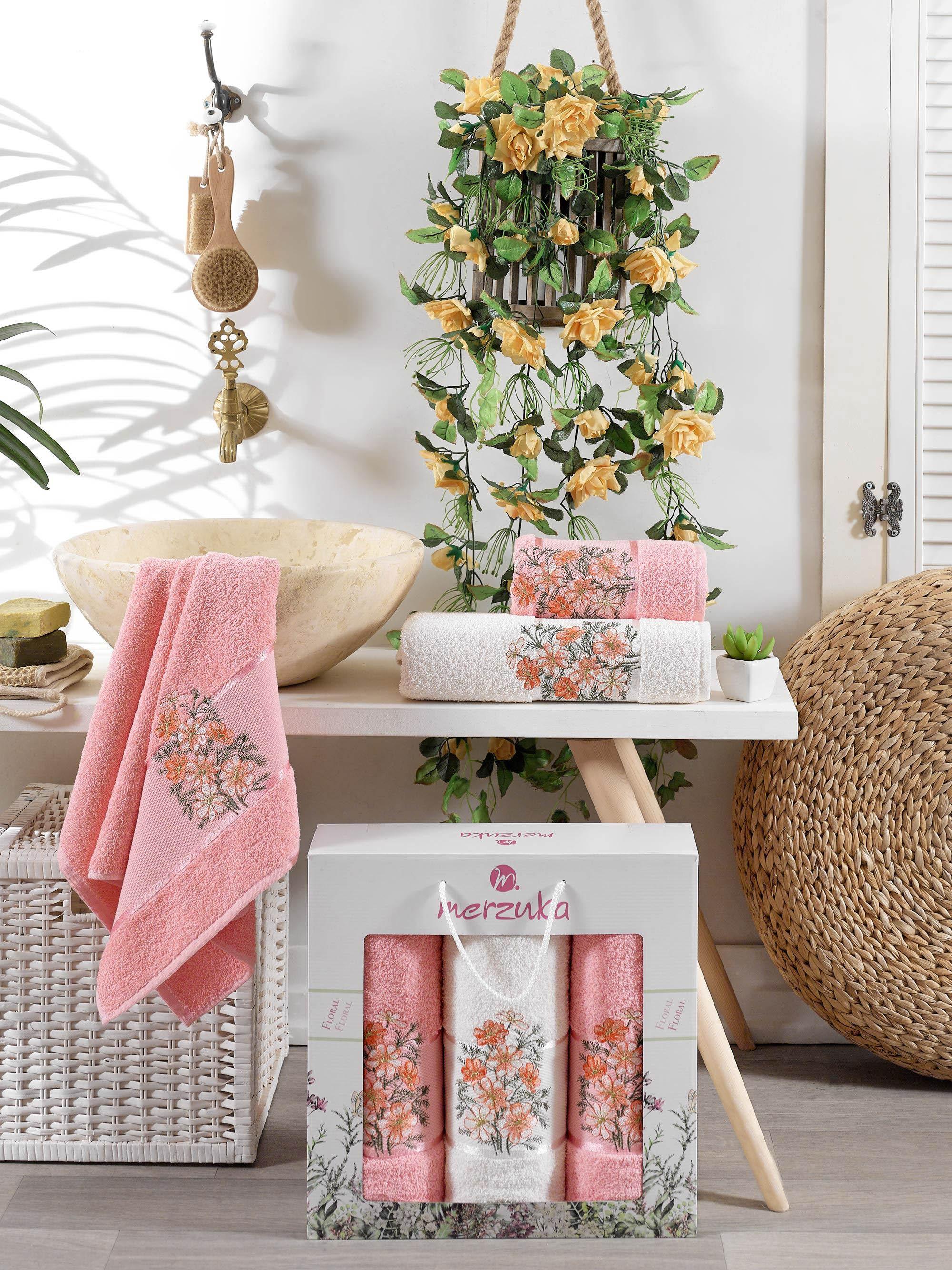 Полотенца Oran Merzuka Полотенце Floral Цвет: Оранжевый (50х80 см - 2 шт,70х130 см) оранжевый prime м 50х90 70х130 в коробке набор полотенец фиеста