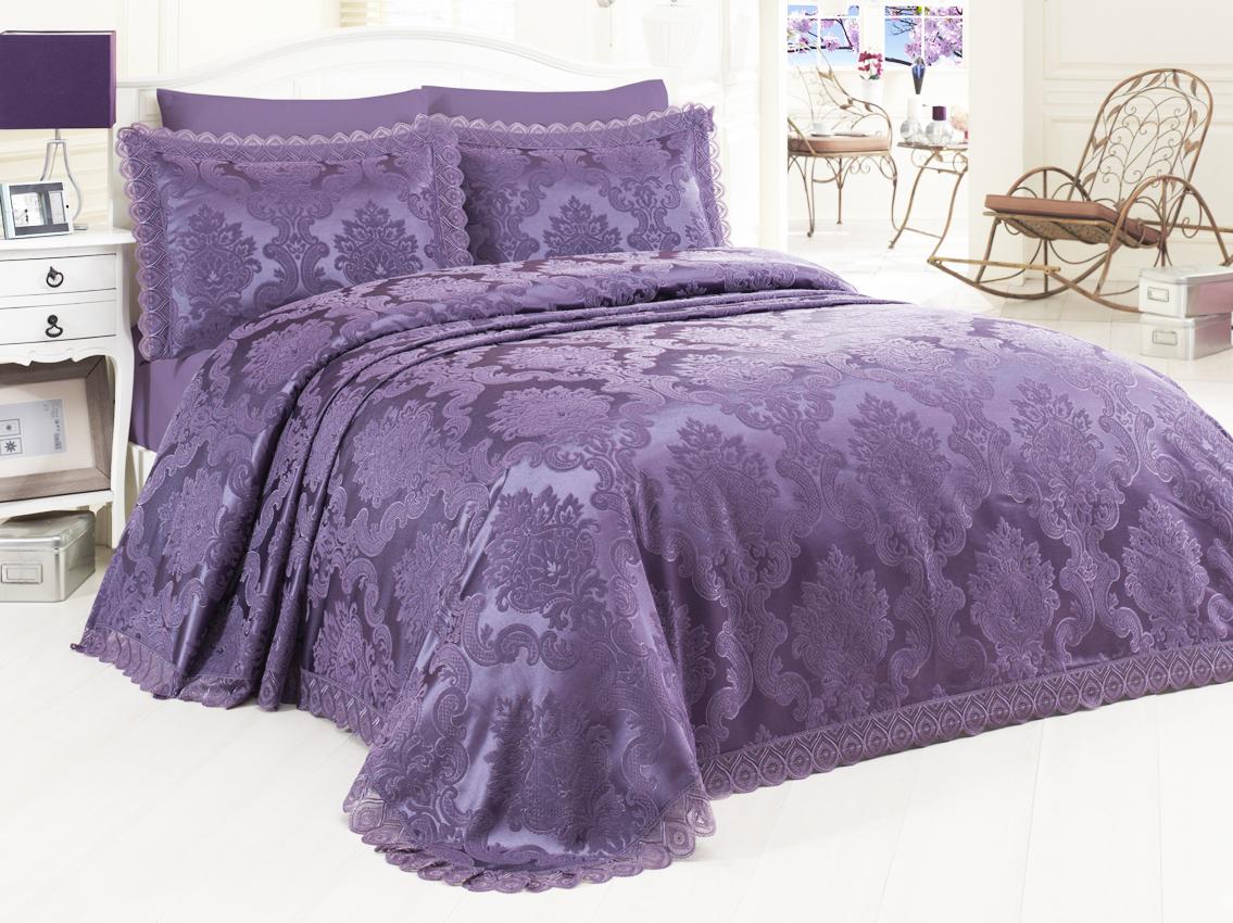 Купить Пледы и покрывала Dantela Vita, Покрывало Ahsen Цвет: Баклажан (260х265 см), Турция, Фиолетовый, Хлопковый жаккард
