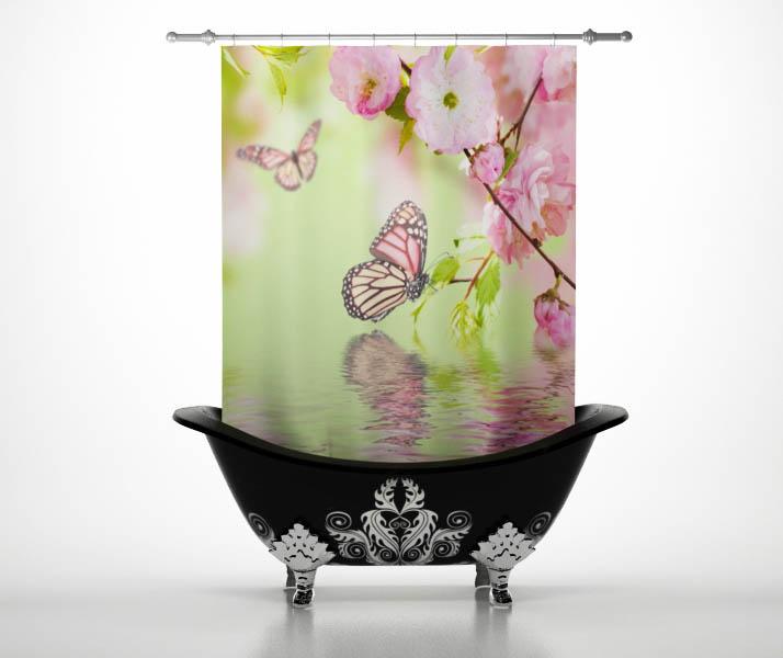 Шторы и карнизы StickButik Шторы для ванной Весенняя Бабочка