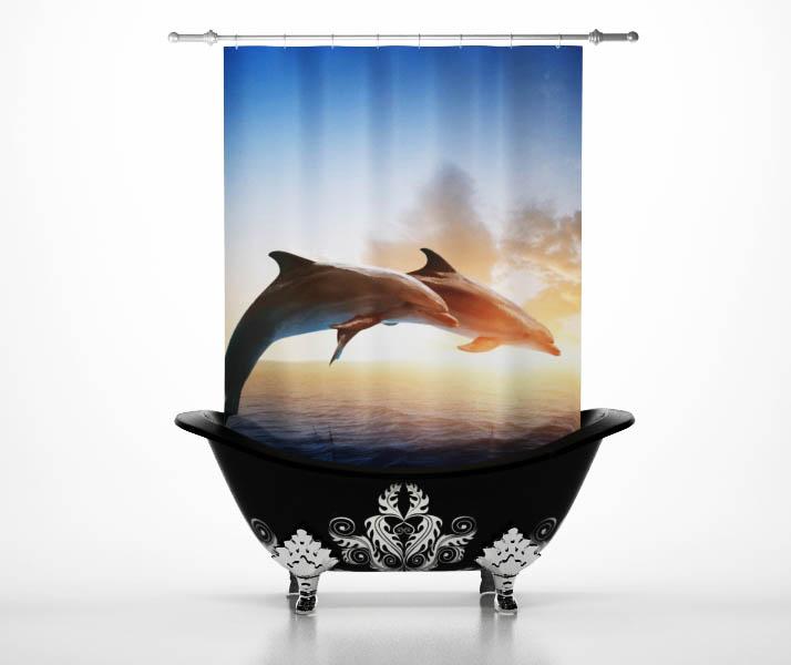 Шторы и карнизы StickButik Шторы для ванной Влюбленные Дельфины