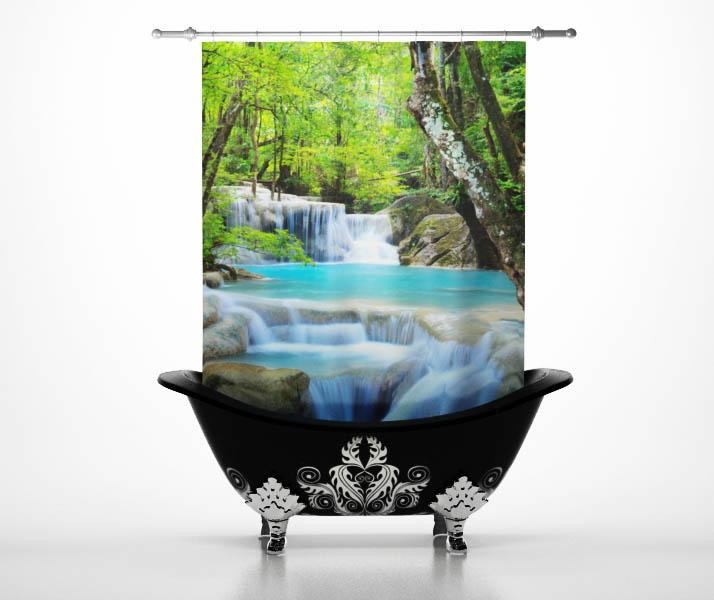 Купить Шторы и карнизы StickButik, Шторы для ванной Водопад Paradise, Россия, Зеленый, Полиэстер