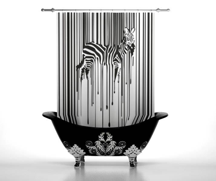 Купить Шторы и карнизы StickButik, Шторы для ванной Дизайнерская Зебра, Россия, Черно-белый, Полиэстер