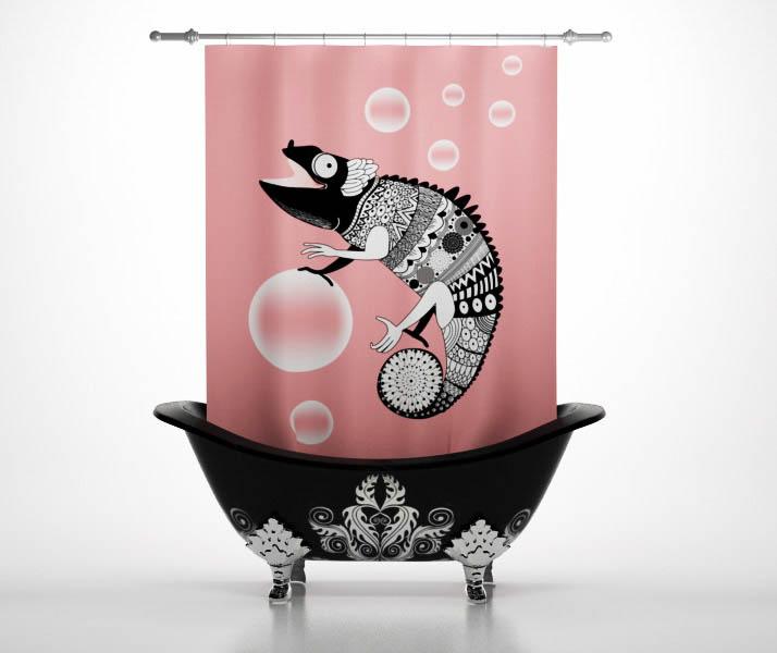 Шторы и карнизы StickButik Шторы для ванной Милый Хамелеон