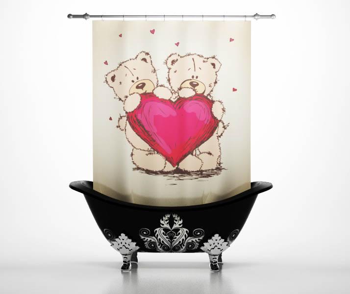 Шторы и карнизы StickButik Шторы для ванной Мишки С Сердцем
