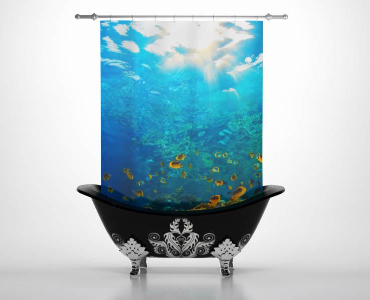 Купить Шторы и карнизы StickButik, Шторы для ванной Морской Риф, Россия, Голубой, Полиэстер