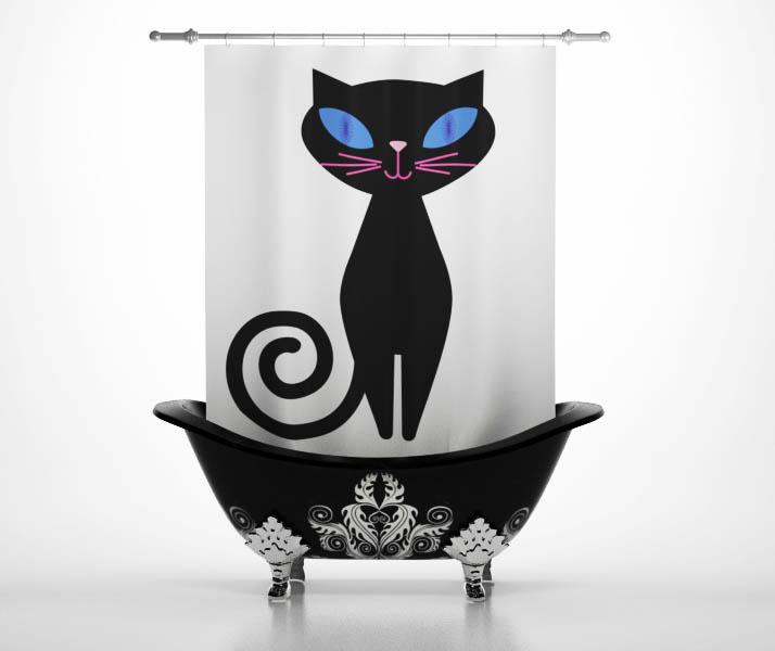 Купить Шторы и карнизы StickButik, Шторы для ванной Мурка, Россия, Черно-белый, Полиэстер