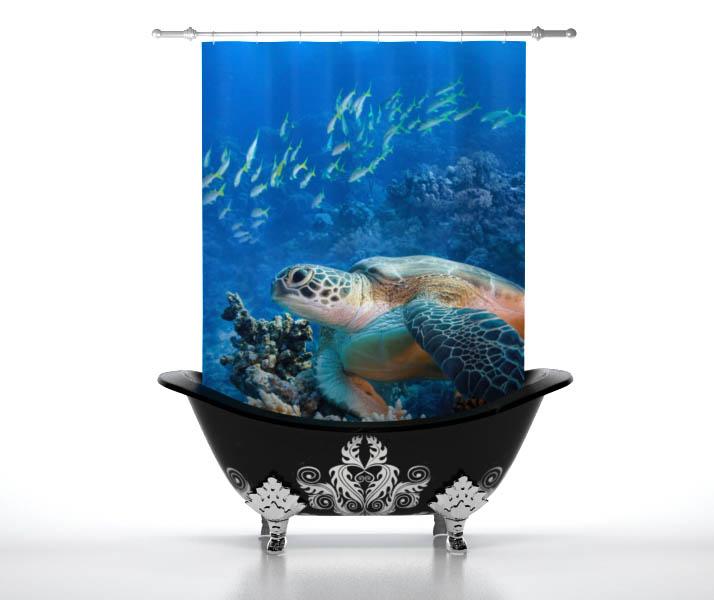 Купить Шторы и карнизы StickButik, Шторы для ванной Прогулка Черепахи, Россия, Голубой, Полиэстер