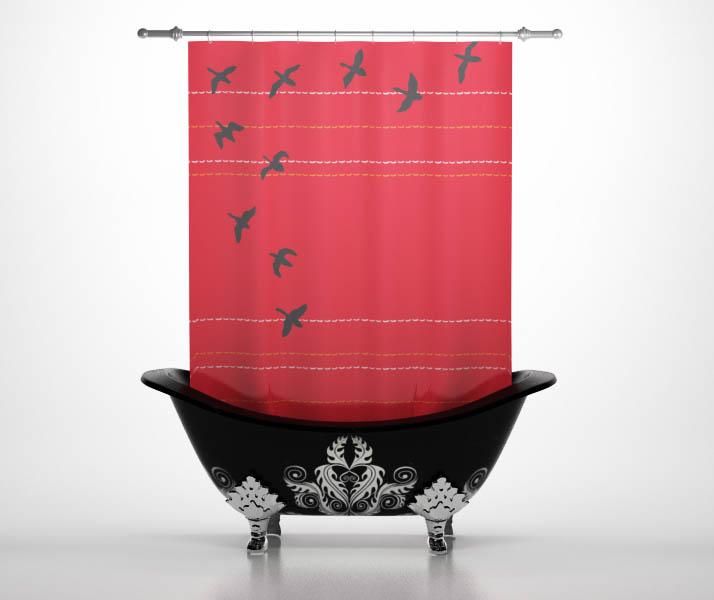 Шторы и карнизы StickButik Шторы для ванной Птицы На Закате