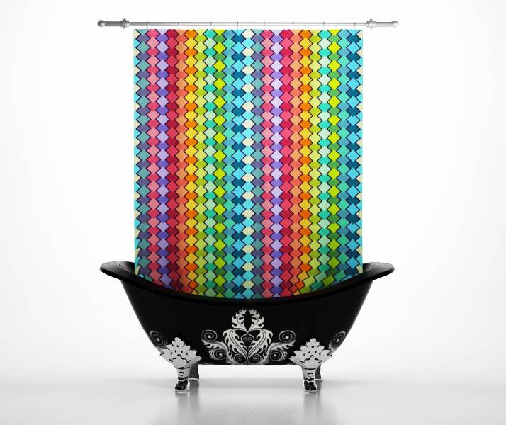 Шторы и карнизы StickButik Шторы для ванной Радужные Ромбы