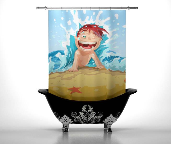 Шторы и карнизы StickButik Шторы для ванной Ребенок На Пляже