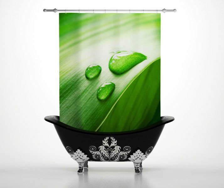 Купить Шторы и карнизы StickButik, Шторы для ванной Росинка, Россия, Зеленый, Полиэстер