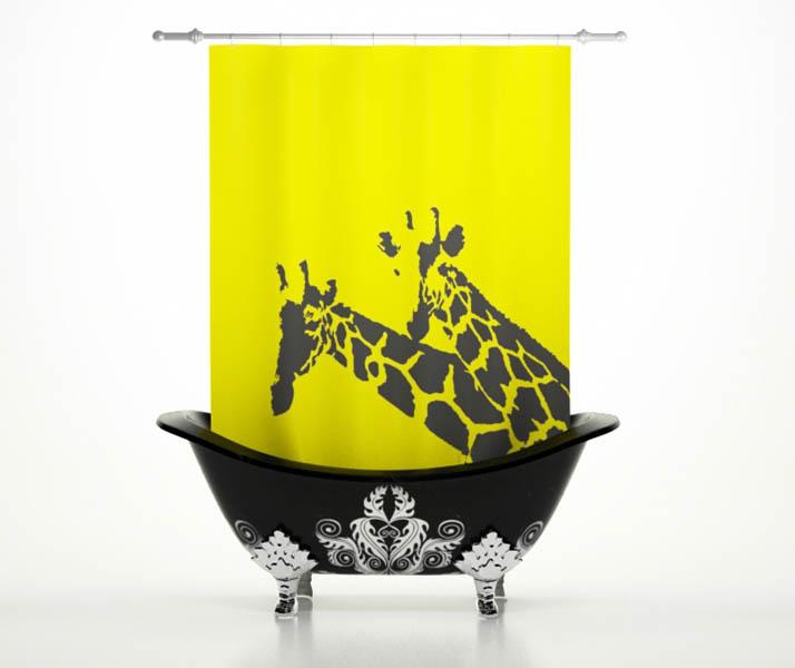 Шторы и карнизы StickButik Шторы для ванной Солнечные Жирафы
