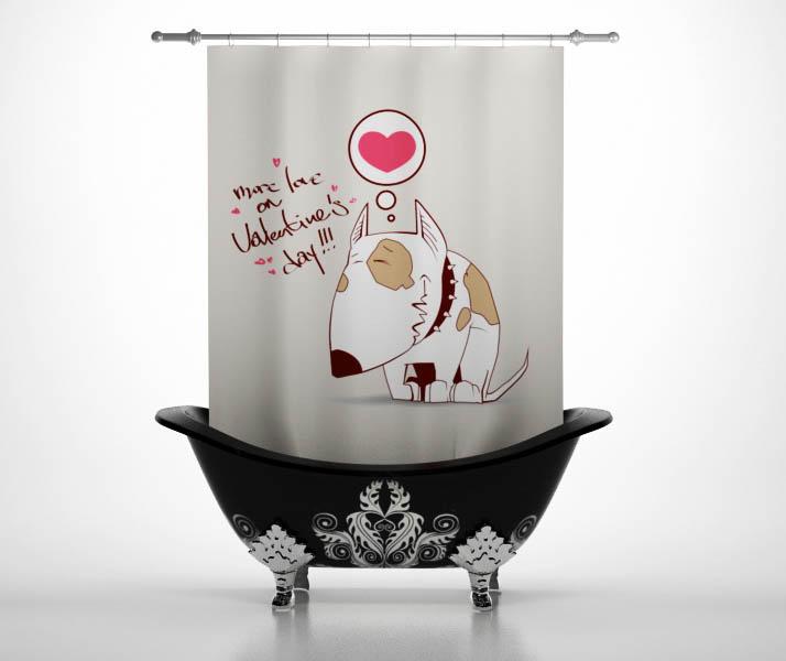 Шторы и карнизы StickButik Шторы для ванной Счастливый Пес
