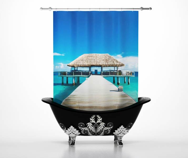 Купить Шторы и карнизы StickButik, Шторы для ванной Тропический Рай, Россия, Голубой, Полиэстер