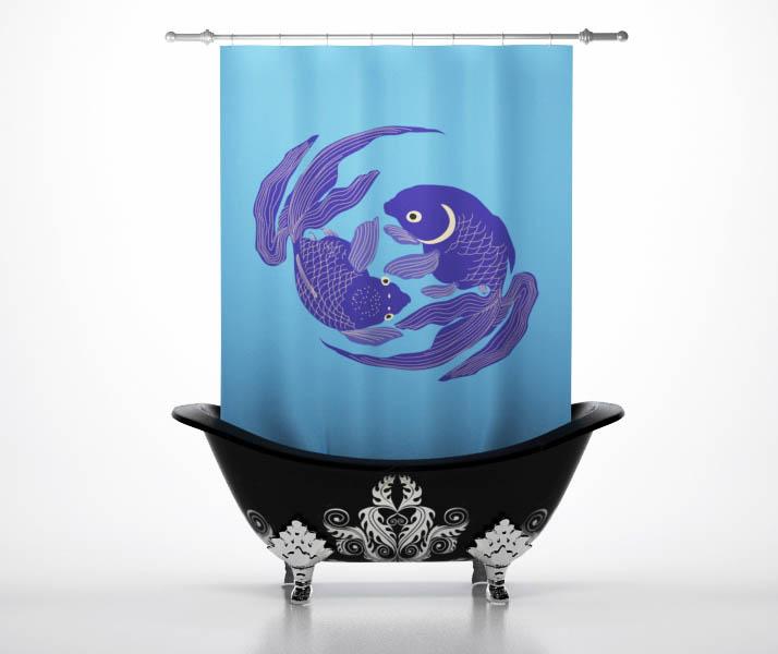 Купить Шторы и карнизы StickButik, Шторы для ванной Фиолетовые Карпы, Россия, Синий, Фиолетовый, Полиэстер