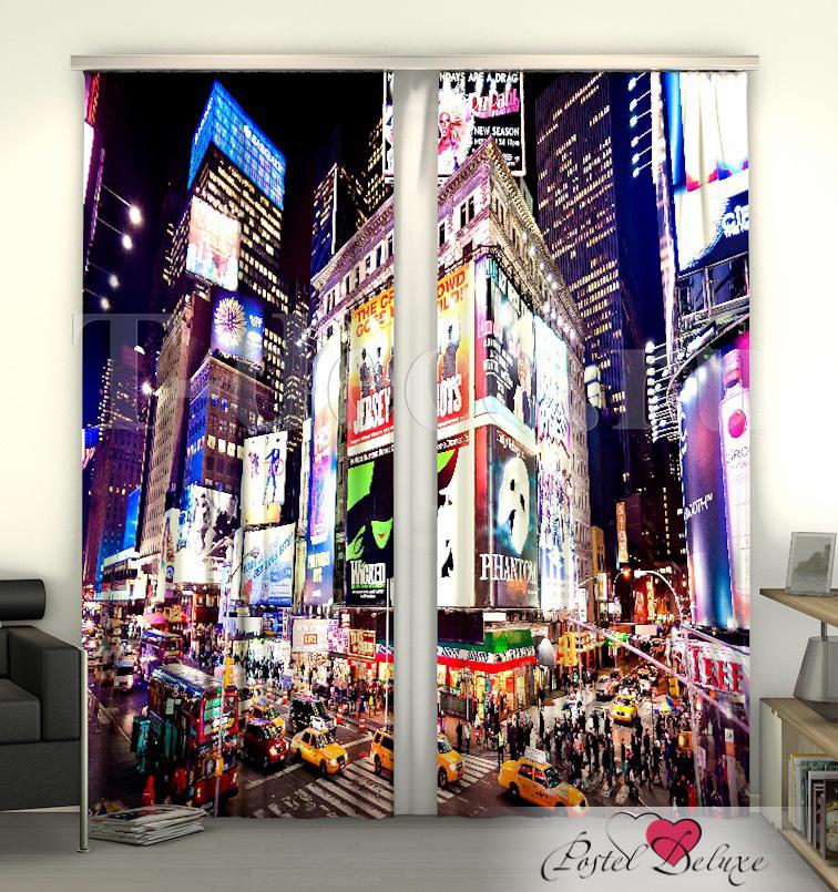 Шторы Сирень, Фотошторы Таймс-Сквер NY, Россия, Габардин  - Купить