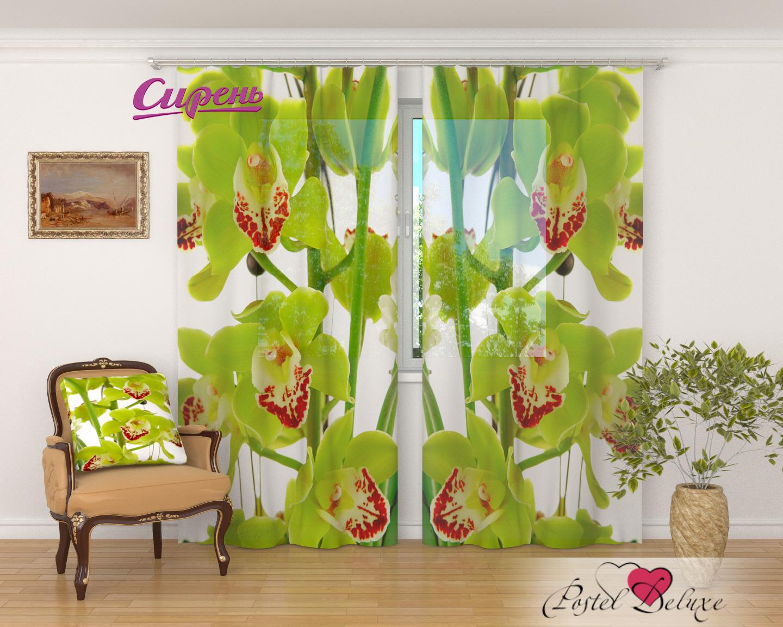 Купить Шторы Сирень, Фототюль Зеленая Орхидея, Россия, Зеленый, Вуаль