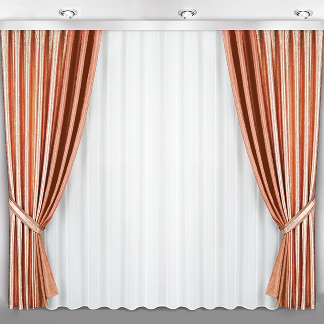 Купить Шторы Велес, Классические шторы Calantha Цвет: Персиковый, Беларусь, Коричневый, Тафта