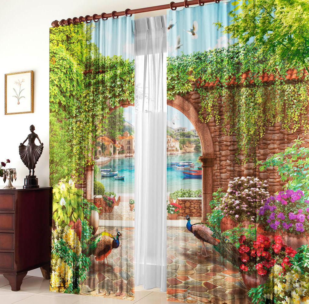 Купить Шторы Elegante, Фотошторы Сад с Павлинами, Китай, Голубой, Зеленый, Габардин